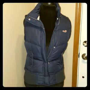 Hollister down filled navy puffer vest flannel